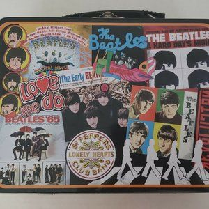 Beatles Lunch Box Tote Metal Tin Used Condition